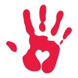 Handprint rojo con símbolo del corazón Fotos de archivo
