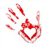 Handprint rosso con un cuore dentro Immagini Stock Libere da Diritti