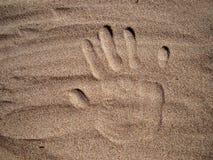 Handprint in sabbia Fotografia Stock Libera da Diritti