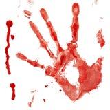 Handprint sanglant avec la baisse images libres de droits