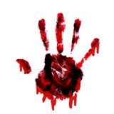 Handprint sangrento com os gotejamentos isolados na parte traseira do branco fotos de stock
