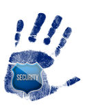 Handprint with security blue shield illustration Royalty Free Stock Image