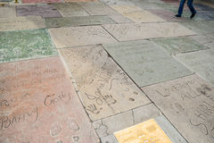 Handprint And SignatureTCL Chinese Theatre is a cinema on the Hollywood Walk of Fame in Los Angeles. Royalty Free Stock Images