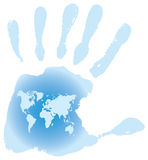 Handprint with six toes. Map of the World, vector illustration Royalty Free Stock Images