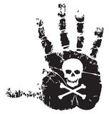 Handprint with skull Royalty Free Stock Photography