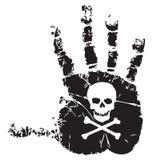 Handprint with skull Royalty Free Stock Photography