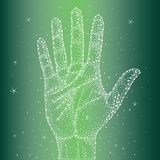 Handprint in the sky with diamonds Royalty Free Stock Photography