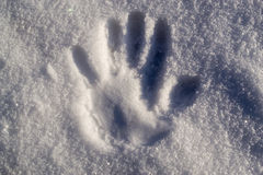 Handprint in Snow Stock Photos