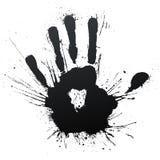 Handprint splatter blow. Vector illustration of a highly detailed ink splatter powerful blow handprint Stock Photos