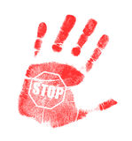 Handprint stop sign illustration design Stock Photos