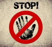 Handprint stop sign illustration Stock Photography