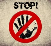 Handprint stop sign illustration stock image