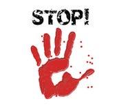 Handprint-Stoppschildillustration Lizenzfreie Stockfotografie