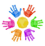 Handprint sun Stock Photos