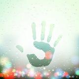 Handprint on Sweaty Window Royalty Free Stock Photography