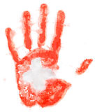 Handprint of a Swiss flag on a white Stock Photography