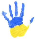 Handprint of a Ukrainian flag on a white Royalty Free Stock Photo