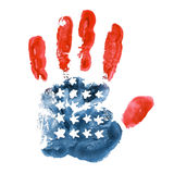 Handprint USA flagga på vit bakgrund Arkivbilder
