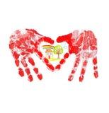 HandPrint van het kind in de vorm van hart Stock Afbeeldingen