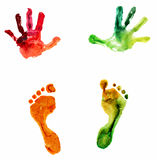 Handprint variopinto ed orma dell'acquerello Immagine Stock