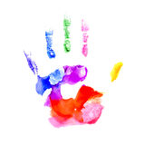 Handprint in vibrant colors of the rainbow Royalty Free Stock Photos
