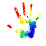 Handprint in vibrant colors of the rainbow. Handprint in colors of the rainbow,  image on white background Royalty Free Stock Photography