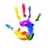 Handprint in vibrant colors of the rainbow. Handprint in colors of the rainbow  on white Royalty Free Stock Photography