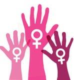 Handprint violet, dépeignant l'idée d'arrêter la violence contre image stock