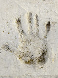 Handprint on wall Royalty Free Stock Photography