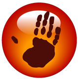 Handprint web button or icon Stock Images