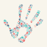 Handprint with web icons background. Handprint with media and shopping icons background Stock Images