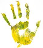 Handprint. Witte achtergrond Stock Afbeeldingen