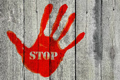 Handprint with the word ''Stop'' Stock Images