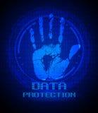 Handprint y protección de datos en la pantalla digital Imagen de archivo libre de regalías