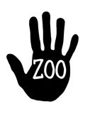 Handprint zoo stock illustrationer