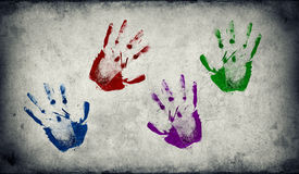 Handprints用不同的颜色 免版税库存照片