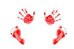 Handprints акварели и младенец следов ноги маленький стоковые фото