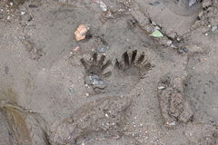 Handprints в песке Стоковое Фото