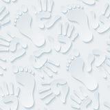 Handprints &脚印3d无缝的墙纸 免版税库存照片