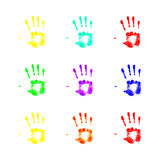 Handprints. Handprints in different colors on a white background Royalty Free Illustration