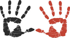 Handprints. In black or red are ideal for promoting crafts, children, crime scene, or stop (don't Stock Image