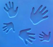 Handprints al campo da giuoco Fotografie Stock