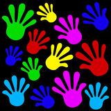 Handprints background. Icon set color. Vector illustration Royalty Free Stock Images