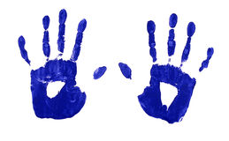 Child handprints in blue paint isolated on white background Stock Photography