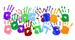 Handprints border group isolated on white background. Multicolor handprints on a white background royalty free stock image
