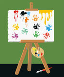Handprints on canvas Royalty Free Stock Image