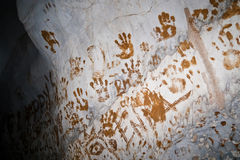 Handprints in a cave in Laos Stock Images