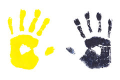 Handprints by children isolated on a white background Stock Photo