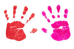 Handprints by children isolated on a white background Royalty Free Stock Images