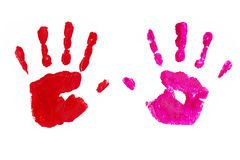 Handprints by children isolated on a white background Royalty Free Stock Image